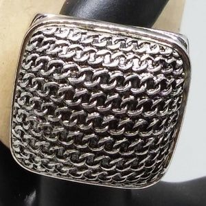 Signet Ring Statement Silver-Plate Jewelry FJ1055